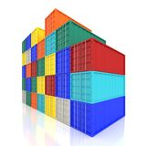 Stacked Colorful Cargo Containers. Industrial and Transportation Stock Photos