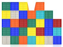 Stacked Colorful Cargo Containers. Industrial and Transportation Stock Photo