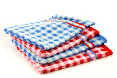 Stacked colorful checkered bathroom wash cloths Stock Image