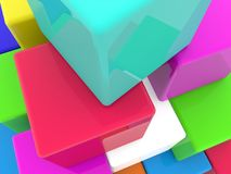 Stacked colorful cubes close up.3d illustration. In backgrounds Stock Photos