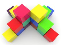 Stacked colorful cubes.3d illustration. In backgrounds Stock Photography