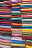 Stacked colorful fabrics Royalty Free Stock Image