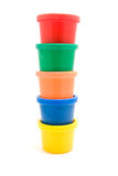 Stacked colorful jars Royalty Free Stock Photos