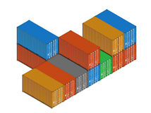 Stacked colorful metal freight shipping containers on white Stock Images