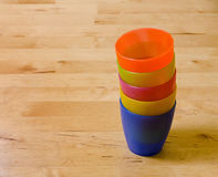 Stacked colorful plastic cups Stock Photos