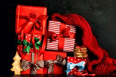 Stacked colorful presents and cookies Stock Photos