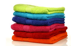 Stacked colorful towels Stock Photo