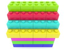 Stacked colorful toy bricks. In backgrounds Stock Illustration