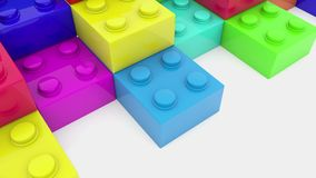 Stacked colorful toy bricks on white. In backgrounds stock footage