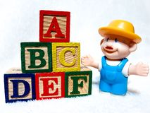 Stacked Colourful Children`s ABC Blocks royalty free stock photography