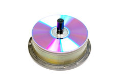 Stacked compact discs. Isolated on white background Royalty Free Stock Images