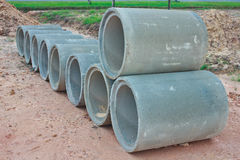 Stacked concrete drainage pipes Stock Photos