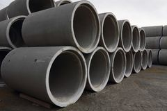 Stacked Concrete Pipe Stock Photography