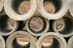 Stacked Concrete Pipe Stock Image