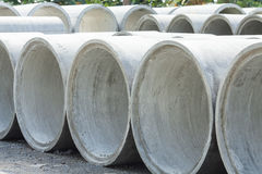 Stacked Concrete Pipe. Pipes made of concrete and cement for heavy industrial use Stock Photography
