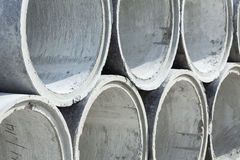 Stacked Concrete Pipe. Pipes made of concrete and cement for heavy industrial use Royalty Free Stock Photography