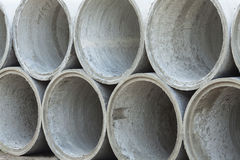 Stacked Concrete Pipe. Pipes made of concrete and cement for heavy industrial use Stock Image