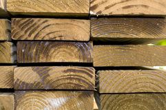 Stacked Construction Wood Boards. Close-up View of Stacked Construction Wood Boards stock image