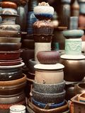 Stacked Containers For Sale At Market stock photography