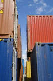 Stacked Containers In Seaport Stockyard Royalty Free Stock Images
