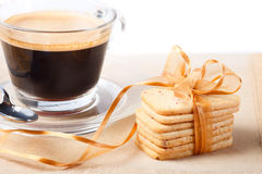 Stacked cookies and coffee Stock Photography