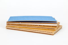 Stacked corrugated cardboards in different colours Royalty Free Stock Images