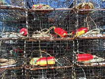 Stacked Crab Traps on a Pier stock photography