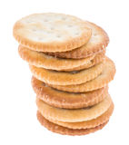 Stacked Crackers on white Stock Photos