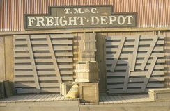 Stacked crates at freight depot Royalty Free Stock Image