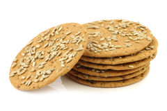 Stacked crispy spelt crackers with sunflower seeds Royalty Free Stock Image