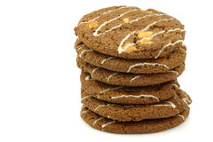 Stacked crunchy chocolate chip cookies with nuts Royalty Free Stock Images