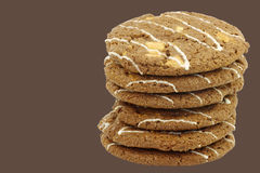 Stacked crunchy chocolate chip cookies with nuts Stock Image