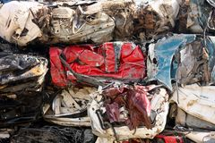 Stacked Crushed Cars Royalty Free Stock Image
