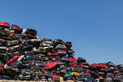 Stacked and crushed cars. Stock Photography