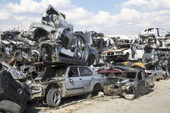Stacked crushed cars Royalty Free Stock Photos