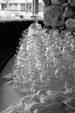 Stacked crystal wine glasses Royalty Free Stock Photos