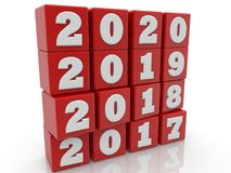 Stacked cubes in red color with New year change concept Stock Image