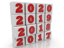 Stacked cubes in white with New year change concept Stock Images