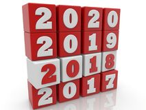 Stacked cubes in white and red color with New year change concept.3d illustration. Royalty Free Stock Photo