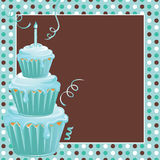 Stacked Cupcakes 1st Birthday Party with polkadots. Cute polkadot background with three teal frosted stacked cupcakes and candle welcome your guests to this 1st vector illustration
