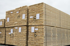 Stacked Cut Lumber. Cut lumber is stacked outdoor ar sawmill Royalty Free Stock Photos