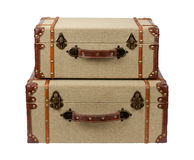 Stacked Deco Wood Burlap Suitcases Stock Images