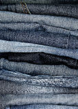 Stacked denim jeans Stock Image