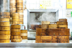 Stacked dim sum steamers at a Hong Kong restaurant Stock Image