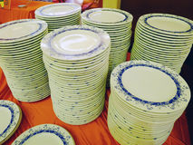 Stacked dishes. In the hotel Stock Image