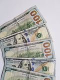 stacked 100 dollar bills stock image