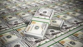 Stacked 100 dollar money bills. 3D illustration. Stacked 100 dollar money bills. Business and success concept. 3D illustration royalty free illustration