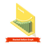 Stacked dollars graph. Market growth concept Royalty Free Stock Image
