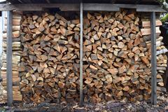 Stacked Douglas fir firewood. Large stack of douglas fir firewood Royalty Free Stock Images
