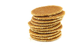 Stacked Dutch waffles called a stroopwafel Stock Photos